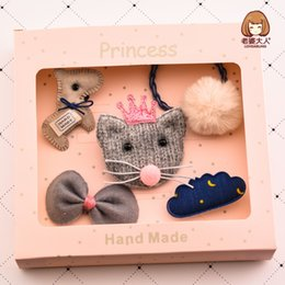 Wholesale 5pcs Handmade Plush Ball Hairring Hairpin Mouse Felt Bow Hair Clip Combination Set Hair Accessories Gift Box