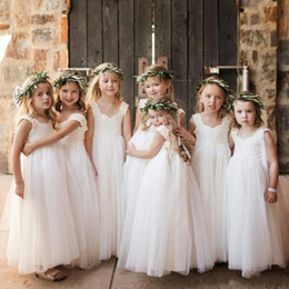 Custom Baby Tutus Australia - 2019 Vintage Ivory Flower Girls' Dresses Baby Infant Toddler Baptism Clothes With Tutu Ball Gowns Birthday Party Dress Tailor Made From 3M