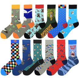 $enCountryForm.capitalKeyWord Canada - Men Socks Combed Cotton Cartoon Animal Dog Tiger Shark Striped Dot Geometric Printing Novelty Funny Socks 2pcs=1pairs