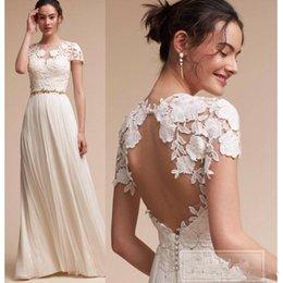 Lace Hole Back Wedding Dress Australia - 2019 New Bohemian Wedding Dresses Lace Cap Sleeves A Line Summer Beach Bridal Gowns Floor Length Key Hole Back Plus Size Wedding Dress