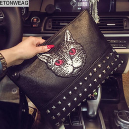 Christmas Hand Bag Australia - Original design cat style embroidery fashion hand grab bag large capacity rivets shoulder bag street fashion embroidery leather hand holding