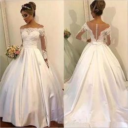 Black Sheer Bows NZ - Vintage Long Sleeve Wedding Dresses 2019 Vestido De Novia Custom Made New Sweep Train Pleats Bow Sash Sheer A-Line Lace Bridal Gowns W228