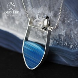 natural agate gemstone pendants Australia - Lotus Fun Real 925 Sterling Silver Natural Agate Gemstones Fine Jewelry Lovely Penguin Necklace with Pendant for Women Collier LY191217