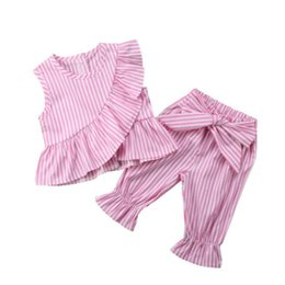 $enCountryForm.capitalKeyWord Australia - 1-10Y Baby Girl Clothes 2pcs Sets Sleeveless Ruffles T-Shirts Tops + Bow Harem Pants Casual Striped Loose Kids Clothing Outfits