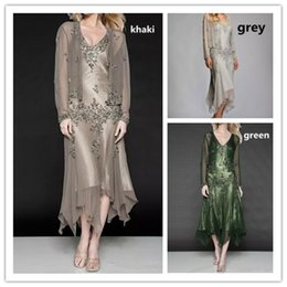 Mother Asymmetrical Dress NZ - 2019 Plus Size Two Pieces Mother Of The Bride Dresses V Neck Tea Length Women Prom Party Gowns Mother Wedding Guest Gowns