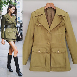 Wholesale cool trench resale online - New Arrival Spring Clothes Women Elegant Army Green Jacket Fashion Motor Biker Style Cool Girls Trench