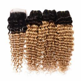 Wavy Curly Hair Wefts Australia - Dark Roots Human Hair Wefts Deep Curly Virgin Peruvian Hair Extensions 3 Bundles Deals With Lace Closure 1b 27 Honey Blonde Wavy Hair