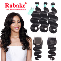 peruvian body wave hair bundles closure Australia - Peruvian Human Hair Body Wave Bundles With Closures Unprocessed Human Hair Extensions 4x4 Swiss Lace Wholesale Cheap Price