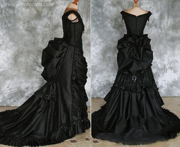 victorian evening dresses Australia - Beaded Gothic Victorian Bustle Prom Gown with Train Vampire Ball Masquerade Halloween Black Evening Bridal Dress Steampunk Goth 19th century