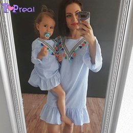 $enCountryForm.capitalKeyWord UK - Mother Daughter Dresses Clothes Blue Tassel Beach Clothing For Wedding Baby Mommy And Me Familly Matching Clothes Plus Big Size Y19051103