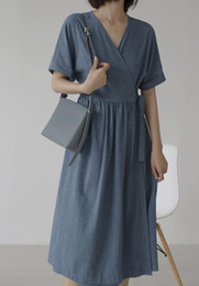 $enCountryForm.capitalKeyWord Australia - A Japanese kimono style bathrobe tea break dress with v-neck lace-up and short-sleeve cotton and linen dress for summer 2019
