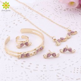 $enCountryForm.capitalKeyWord Australia - Gold-Color Kids Baby Jewelry Sets Children Ring Earrings Bracelet Pendant Necklace 5Color