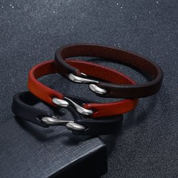 Wholesale Fashion Male Jewelry Easy Hook Leather Bracelet Handmade Simple Leather Bangle Bracelet Jewelry Women Men Wrist Band Gifts
