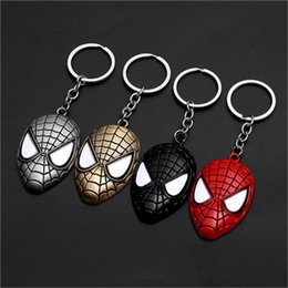 superhero keychains UK - 17-style Marvel Avengers Spiderman Mask Keychain Cartoon Figure Superhero Spider Man Pendant Key Chain Key Ring Trinket Gift jssp01