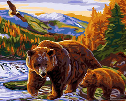 Diy Canvas Prints Australia - 16x20 inches DIY Paint on Canvas by Number Kits Abstract Bear snuggles in mother bear near river Art Acrylic Oil Painting Frameless for