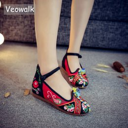 red wedges shoes NZ - Designer Dress Shoes Veowalk Handmade Vintage Flower Embroidered Casual Pumps Women's Breathable Casual Canvas Wedge Platform Zapatos Mujer