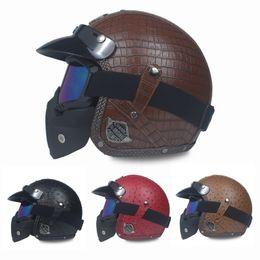 $enCountryForm.capitalKeyWord NZ - New Motorcycle Helmet Retro Vintage Synthetic Leather Open Face Helmet Motorbike Scooter Cruiser Chopper Casco Moto DOT