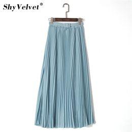 $enCountryForm.capitalKeyWord Australia - Elegant Women Long Skirt Bohemian High Waist Chiffon Rock With Belt Beach Plissee Skirts Solid Robe Maxi Saias Pink Khaki Y19071601