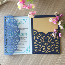 China Best sale Navy Blue exquisit Royal lace flower hollow laser cut pearl paper Envelope wedding invitation marriage annivery cheap royal blue flowers wholesale suppliers