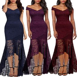 Wholesale swing sizes for sale – custom Women Vintage Off Shoulder Princess Floral Lace Cocktail Party Swing Dress summer style women clothing plus size Floor
