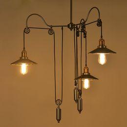 Industrial Kitchen Lighting Pulleys Australia - Loft Hanglamp Retro Wrought Iron Vintage Chandeliers Industrial Adjustable Pulley Loft Pendant Lamps Pendant LampsFixture