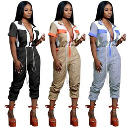 Wholesale short party jumpsuits for sale – dress Women Overalls Jumpsuits Colors Summer Patchwork Stitching Zipper Pocket Drawstring Lapel Neck Party Playsuits OOA7058