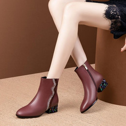 black crystal wine NZ - Hot Sale- 2020 women ankle boots cow leather winter short plush crystal zippers high heels boots wine red color women 42