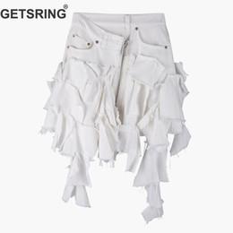 e34c51412169 GETSRING Women Skirt High Waist Irregular Denim Skirts Retro All Match  Irregular Skirt Fashion Short Summer Skirts White 2019