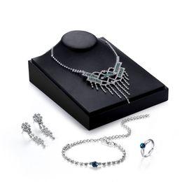 $enCountryForm.capitalKeyWord Australia - Transmit love Silve colour Dress Bridal Jewelry sets for woman Rhinestone Necklace Earrings Ring Bracelet Party Wedding Jewelry