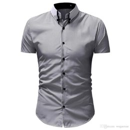 $enCountryForm.capitalKeyWord Australia - New Luxury Casual Men Striped Short Sleeve Shirts Formal Slim Fit Tops Business Dress Shirts Chemise Homme Manche Court Gomlek 2