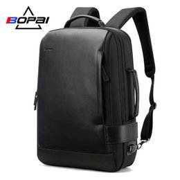 leather business backpacks for men Canada - 15.6 Inch Notebook Black Contractive Leather for Men USB Charging Male Travel Backpack Nylon mens rucksacksMX190905