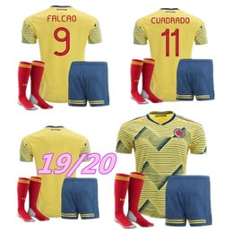 4fe0d64715f Adult Kit 2019 Colombia Soccer Jersey Copa America Home CUADRADO Rodriguez  JAMES FALCAO 19 20 Camiseta Colombia Men Sets Football shirts