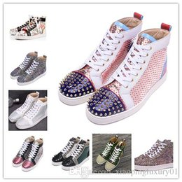 $enCountryForm.capitalKeyWord NZ - High quality designer brand red sole sneakers high top flats lace up studded spikes shoes match multi glitter rhinestone men women casual