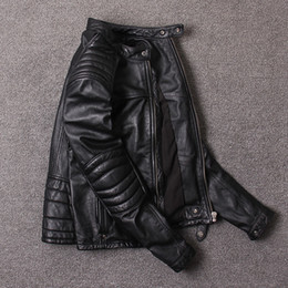 Thick Genuine Leather Australia - Vintage and Wrinkle men's motorcycle clothing slim short leather coats first layer of genuine cowhide leather