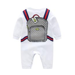 White jumpsuit child online shopping - Retail Baby Romper Ins cotton cartoon schoolbag Printed Rompers Newborn baby bodysuit Children one piece onesies Jumpsuits climbing clothes