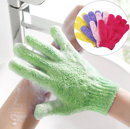 Wholesale Skin Bath Shower Wash Cloth Shower Scrubber Back Scrub Exfoliating Body Massage Sponge Bath Gloves Moisturizing Spa Skin Cloth 7 colors