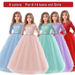 Bow dress event online shopping - Girl Floor Length Party Dress Kids Bow Tie Lace Long Dresses for Girls Princess Tutu Dress for Wedding Party Events Wear