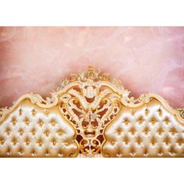 headboard beds Australia - 7X5FT Photo Background Golden baroque bed headboard tufted bed Children Photography Backdrops Newborns Photo Backdrop S-1382