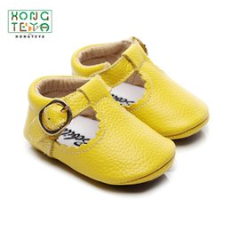 toddler strap NZ - Genuine leather T-bar Mary jane Baby Girls Shoes Infants Toddler baby Princess Ballet Shoes Newborn Crib shoes hard sole CY200512