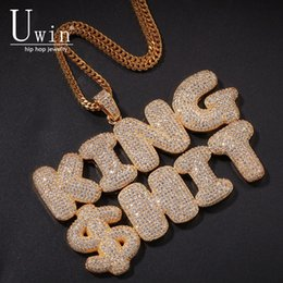 Cuban Necklaces Australia - Uiwn Name Necklace Gold For Men Customize Bubble Letters Pendant Silver Rose Gold Color Commission Gift Jewelry Cuban Rope Chain J190620