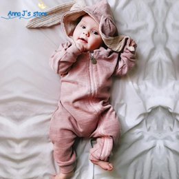 BaBy raBBit cartoon online shopping - Spring Autumn Baby Clothes cotton Baby Boys girls Clothes Cartoon D Rabbit Ear Rompers Jumpsuit Newborn Infant Rompers ppy LY191205