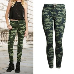 Military Camouflage Clothing NZ - 2019 women plus-size clothing low waist tight elastic pants camouflage denim pencil pants Female fashion military style skinny cotton jeans