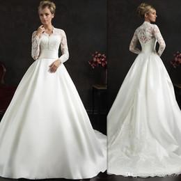 $enCountryForm.capitalKeyWord Australia - Elegant White Amelia Sposa Wedding Dresses Appliques Lace Long Sleeves Wedding Gowns Sweep Train Ball Gown Bridal Dress Custom Made