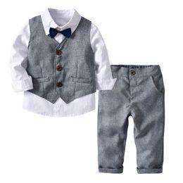 $enCountryForm.capitalKeyWord NZ - Autumn INS Kids Boys Clothing Suits Spring Gentleman Tatting Cotton Shirt+Bow Tie+Waistcoat+Pants 4pcs Set Children Kids Boys Clothing Sets