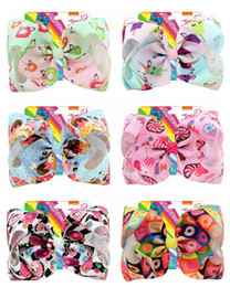"""Coral Hair Accessories Australia - Hot Sale 8 Inch""""jojo Girls Siwa Unicorn Collection Coral Colorful Hairpin Large Hair Bows Hair Accessories For Girls 10pcs"""