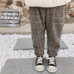 77852ddb6 2019 Autumn And Winter korean style cotton Classic Velvet thickened  all-match plaid long pants for cute sweet baby girl and boys