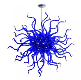 italian light design Australia - Modern Minimalist Design LED Light Source High Quality Contemporary European Italian Style Blue Hand Blown Murano Glass Chandelier