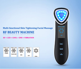 Skin Tightening Machines For Home Use Australia - Multi-functional Skin Tightening Facial Massage Radio Frequency Beauty Machine with RF Cooling EMS LED Photon Vibration For Home Use