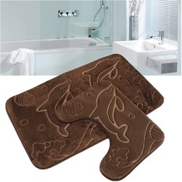 toilet carpet sets Australia - Cheap 2PCS Bathroom Mat Set many Design Anti Slip bath rug Mat Toilet Bath Mat set Carpet For Bathroom Badmat tapete banheiro