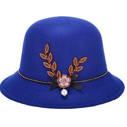 Discount decorate hats - Women Autumn Winter Flower Pearl Decorated Felt Cap Warm Easy Elegant Bowler Hat